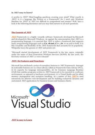 Is .NET easy to learn?