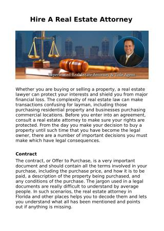 Hire A Real Estate Attorney