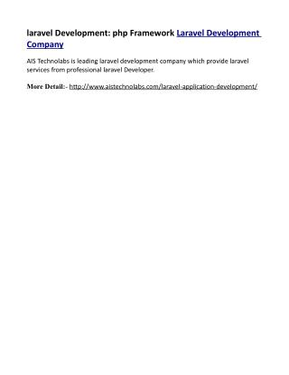 laravel Development: php Framework Laravel Development Company