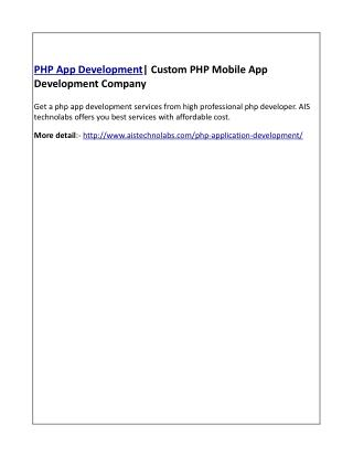 PHP App Development| Custom PHP Mobile App Development Company