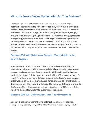 Why Use Search Engine Optimization for Your Business?