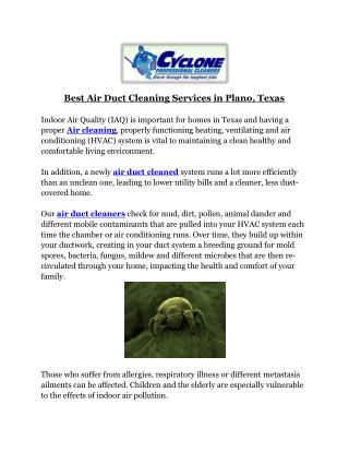 Best Air Duct Cleaning Services in Plano, Texas