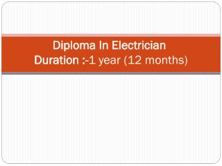Diploma in Electrician