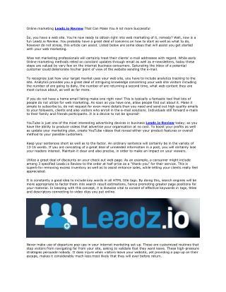 Leadz.io Review And Huge Bonus