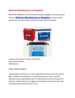 Batteries Manufacturers in Bangalore