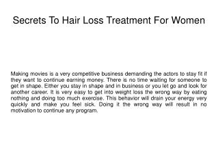 Secrets To Hair Loss Treatment For Women