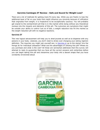 Garcinia Cambogia ZT Review - Safe and Sound for Weight Loss?
