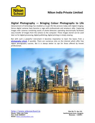 Digital Photography—Bringing Colour Photographs to Life