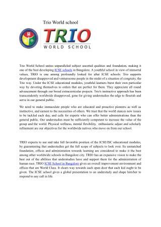 Best ICSE School-Trio world school