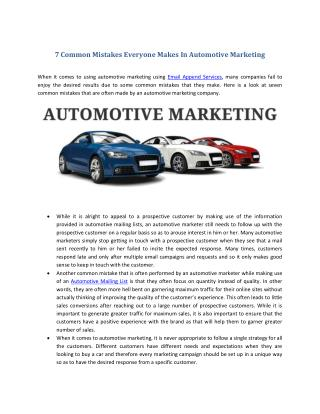 7 Common Mistakes Everyone Makes In Automotive Marketing