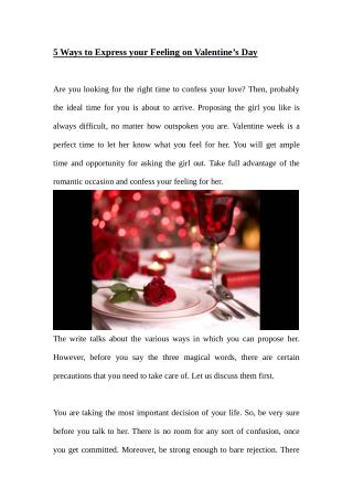 5 Ways to Express your Feeling on Valentine's Day