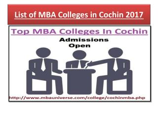 List of Top MBA Colleges in Cochin 2017