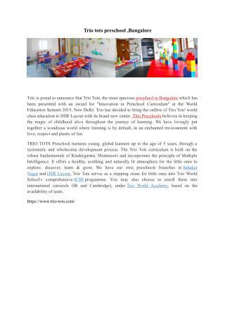 Preschool in Bangalore-TRIO-TOTS