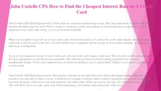 John Costello CPA Helpful Credit Card Tips and Advice for Consumers