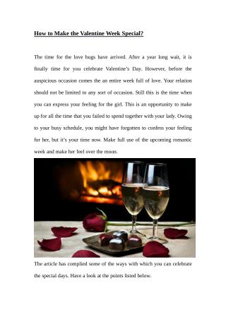 How To Make The Valentine Week Special?