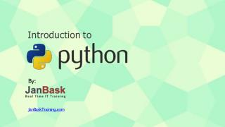 Introduction about Python by JanBask Training