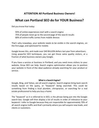 Grow SEO Agency Portland