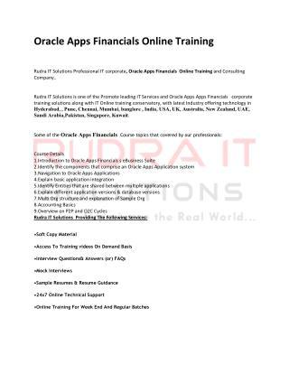 Oracle Financials Online Training in hyderabad
