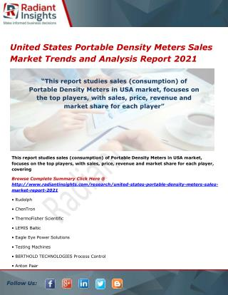 United States Portable Density Meters Sales Market Size, Analysis and Forecasts 2021
