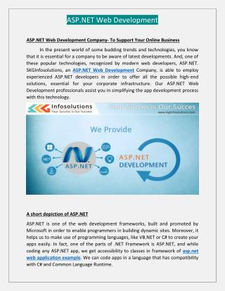 Asp.Net Web Development - SKGInfosolutions