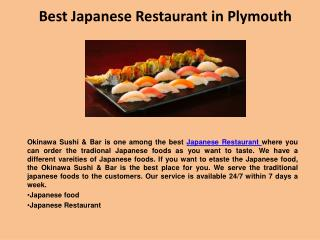 Best Japanese Restaurant in Plymouth