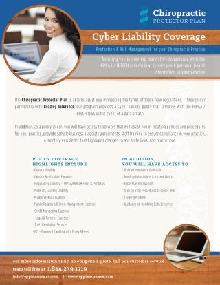 Cyber Liability Coverage - Chiropractic Malpractice Insurance