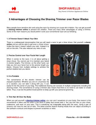 5 Advantages of Choosing the Shaving Trimmer over Razor Blades