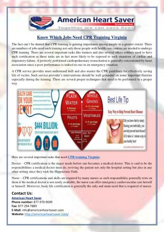 Know Which Jobs Need CPR Training Virginia