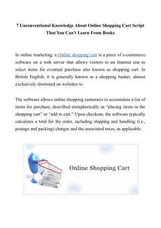7 Unconventional Knowledge About Online Shopping Cart Script That You Can't Learn From Books