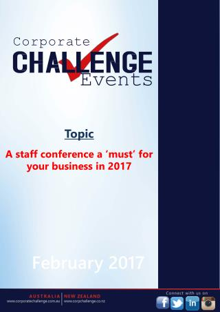A staff conference a 'must' for your business in 2017