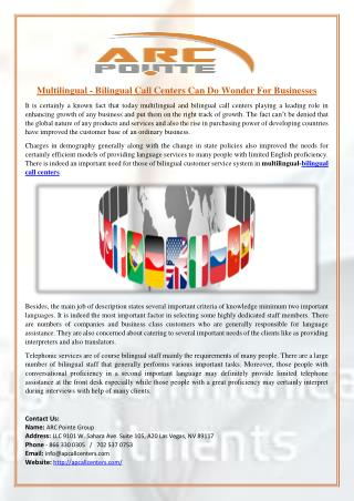 Multilingual - Bilingual Call Centers Can Do Wonder For Businesses