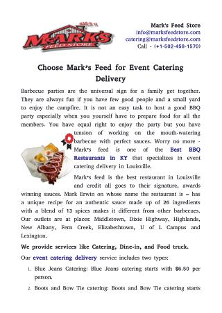 Choose Mark's Feed for Event Catering Delivery