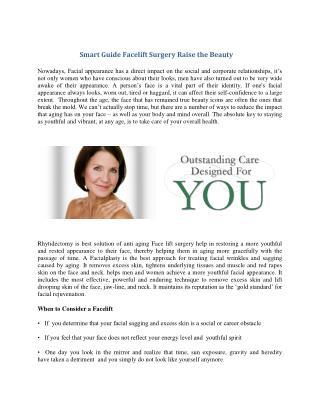 Smart Guide Facelift Surgery Raise the Beauty