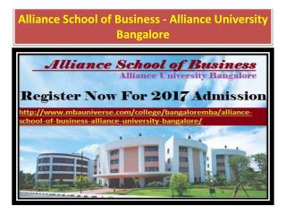 Alliance School of Business - Alliance University Bangalore