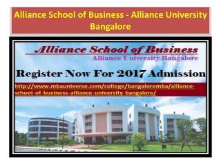 Alliance School of Business - Alliance University Bangalore