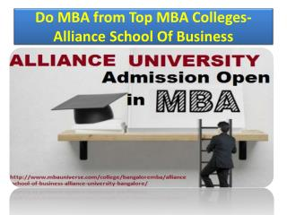 Do mba from Top MBA Colleges- Alliance School Of Business
