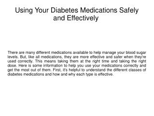 Using Your Diabetes Medications Safely and Effectively