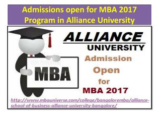Admissions open for MBA 2017 Program in Alliance University
