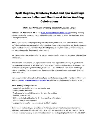 Hyatt Regency Monterey Hotel and Spa Weddings Announces Indian and Southwest Asian Wedding Celebrations