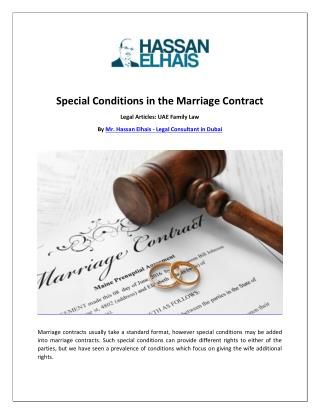 Special Conditions in the Marriage Contract