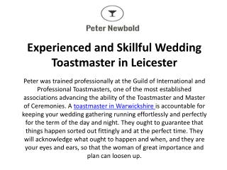 Experienced and Skillful Wedding Toastmaster in Leicester