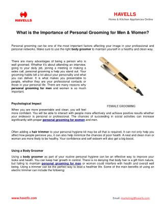 What Is The Importance Of Personal Grooming For Men & Women?