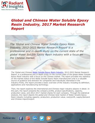 Chinese  Water Soluble Epoxy Resin,  Industry Market Research Report 2016:: Radiant Insights Inc