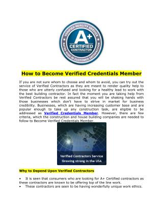 How to Become Verified Credentials Member