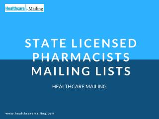State Licensed Pharmacists Mailing Lists