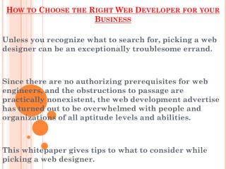 Choose the Right Web Developer for your Business