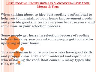 Roofing Professional in Vancouver– Save Your Money & Time