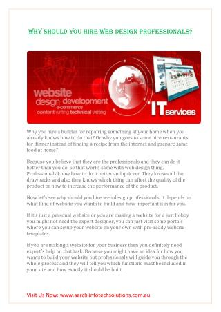WHY SHOULD YOU HIRE WEB DESIGN PROFESSIONALS?