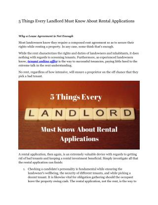 5 Things Every Landlord Must Know About Rental Applications