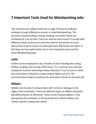 7 Important Tools Used for Metalworking Jobs